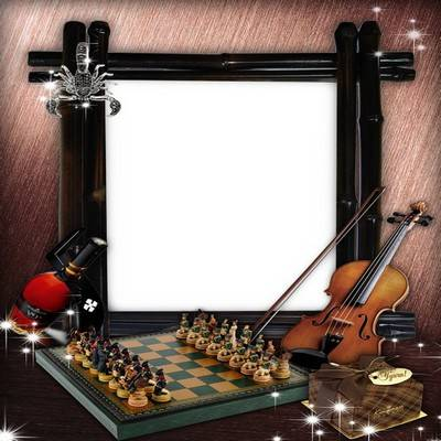 Photoshop frame png + psd files for men photos with violin and chess