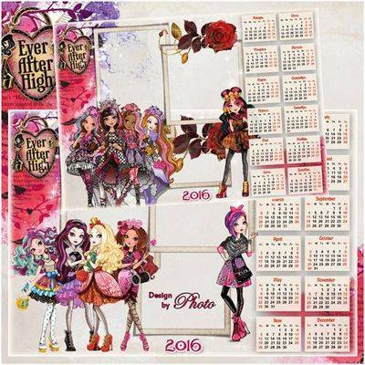2016 Photoshop Calendar Children's - png  + psd files with cartoon ever after high