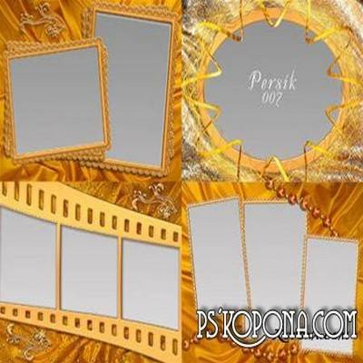 4 gold frames png format for Photoshop