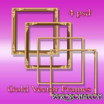 Gold Vector Frames psd files