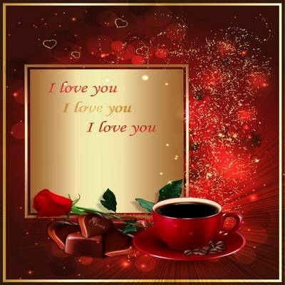 Multi-layered Love psd source with Rose, coffee, chocolate to create greeting cards and photo collages