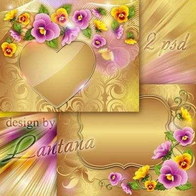 Floral psd source with viola on a gold background