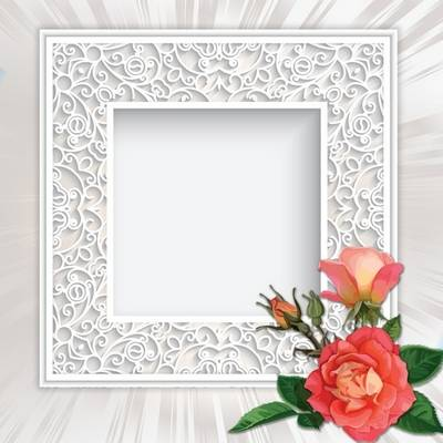 Psd source - White frame with roses