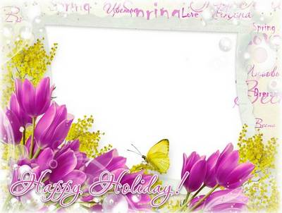 Photoshop template greeting frame psd with spring flowers tulips - Happy Holiday!