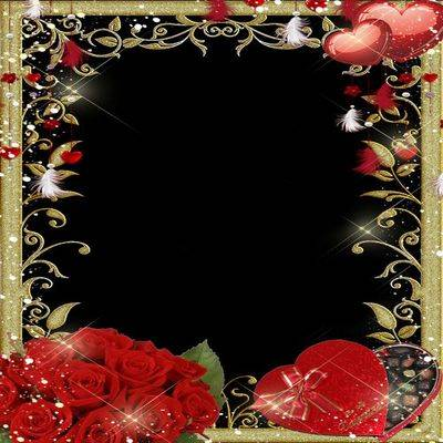 Free gold frame Photoshop file for cs3, cs4 ,cs5, cs6 with red roses, hearts and box chocolates in the shape of heart