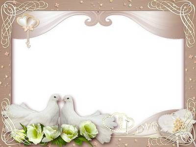 Wedding frame - Here she exults Love - dove doves cooing over