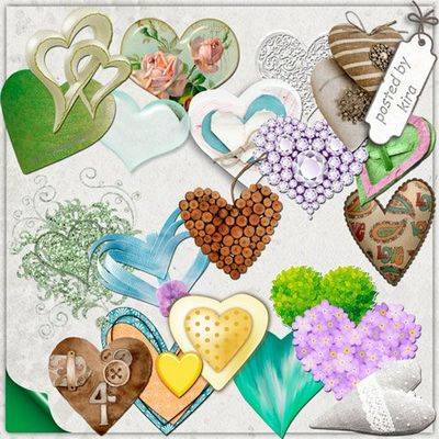 PNG Clipart Valentine's Day - Colorful hearts - 151 PNG files