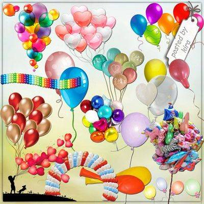 Festive clipart png - many, Many balloons - 232 PNG files