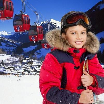 psd file template for children - psd suit boy in ski suit next to the mountain peaks