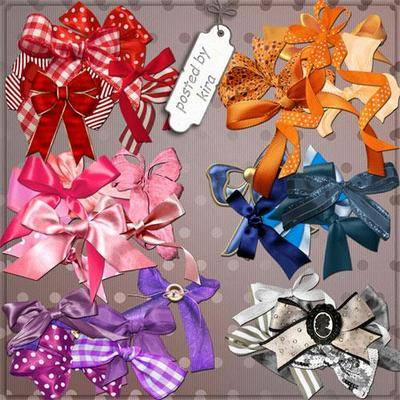 Bows png images - red, orange, blue, pink, purple, grey - clipart png, transparent background