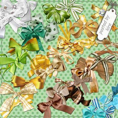 Bows png images -white, yellow, green, brown, blue - clipart png, transparent background