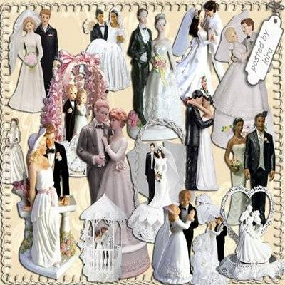 Wedding clipart png - Romantic figurines bride and groom - 29 PNG files