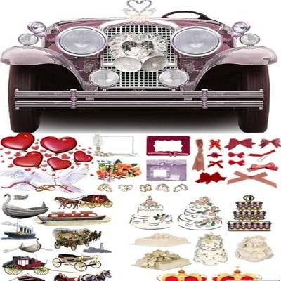 Wedding clipart png set - cars, figurines, champagne, flowers, rings, cakes - on a transparent background - 20 PNG files