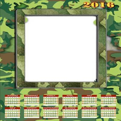 Multilayer PSD Calendar 2016 in English: in the military style, in Russian: day of the defender of Fatherland