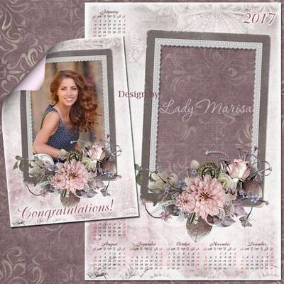 Download set: psd Calendar 2016 & 2017 Vintage flowers and Photoshop Frame temlate - Сongratulations