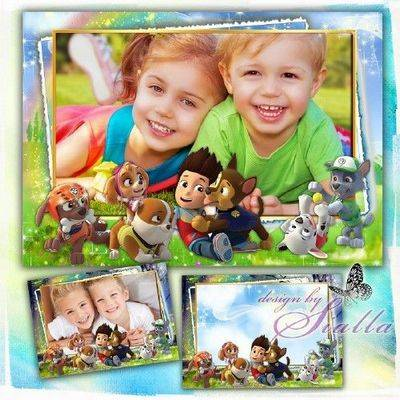 Download Photoshop frame psd & png format for baby pictures with cartoon characters - Jolly PAW Patrol