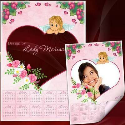 Free 2016 & 2017 Photoshop Calendar Multilayer PSD Template with Flowers, Hearts and Cupid (English, Ukrainian, Russian lang) - Free Download