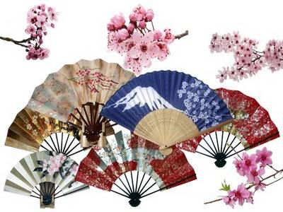 Clipart PSD images, Multilayer file (44 layers), transparent background - Japanese Sakura and fans