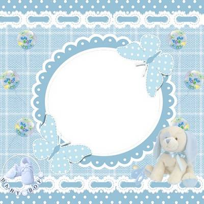 Free psd template photo frame for baby boy pictures in the blue style with a soft toy