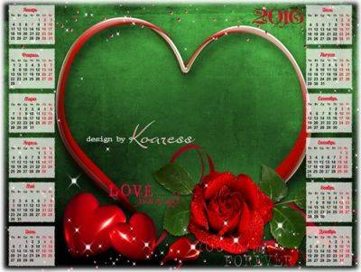 2016 PSD Calendar for Photoshop with red rose and red hearts for lovers - free download