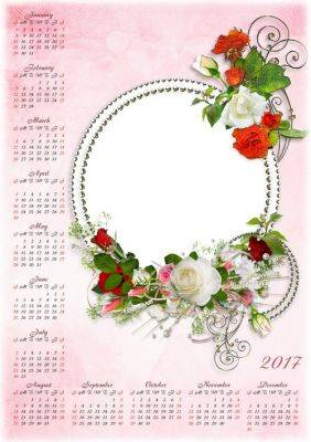 Set: Template Calendar PSD for 2016 and 2017 with beautiful roses and the ability to insert photos + floral PSD frame