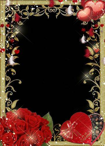 Free gold frame Photoshop file forcs3, cs4 ,cs5, cs6 with red roses, hearts and box chocolates in the shape of heart