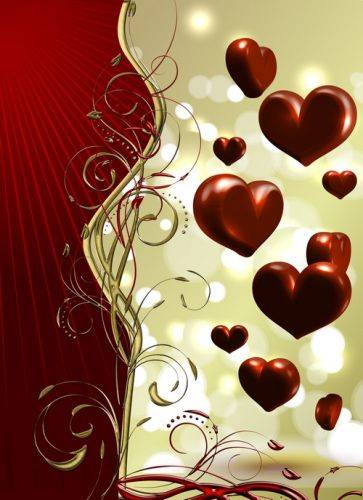 3 multilayer backgrounds psd files - maroon - gold background and chocolate hearts