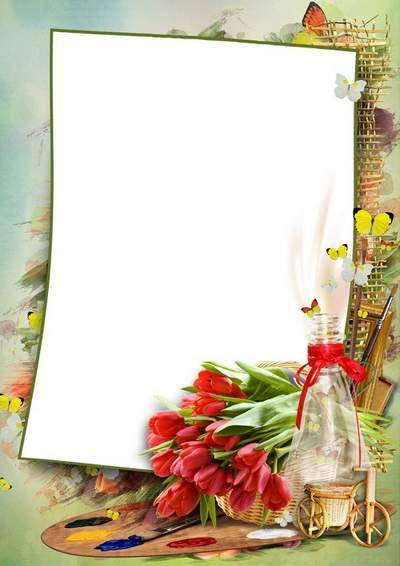 Spring frame template with flowers and butterflies - PSD + 4 PNG Frames