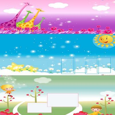 Collection of children's multi-layered backgrounds