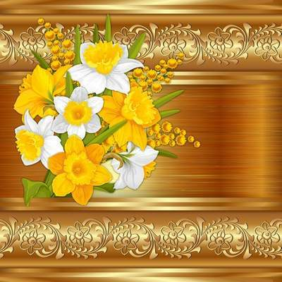Multilayer Photoshop source PSD Template with spring flowers