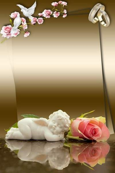 Free Wedding frame photoshop template - Roses, doves and sleeping angel