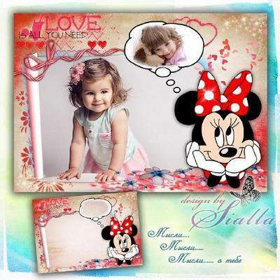 Children photo frame PNG + PSD formats for 2 photos - Minnie mouse