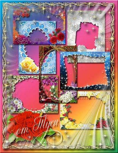 The collection of flower frames png for photos - In the world of colors so warm and cool