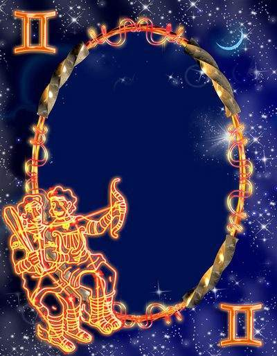 Frame for photoshop - Zodiac signs. Twins
