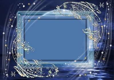 Frame for photoshop - Crystal zodiac signs. Fishes