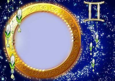 Frame for photoshop - Charming zodiac signs. Twins
