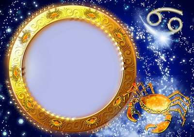 Frame for photoshop - Charming zodiac signs. Cancer
