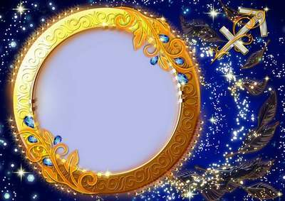 Frame for photoshop - Charming zodiac signs. Sagittarius