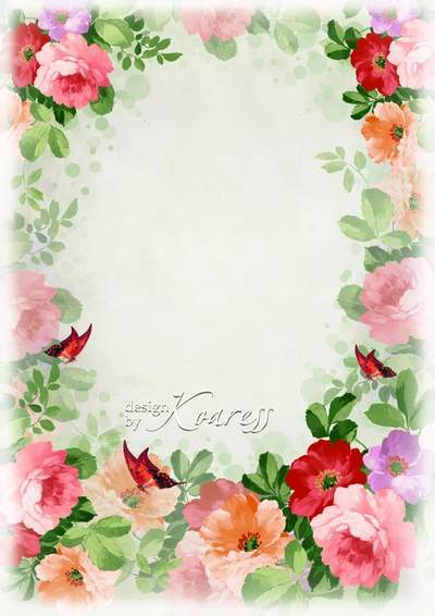 Romantic frame for Photoshop - And tender and bright flowers