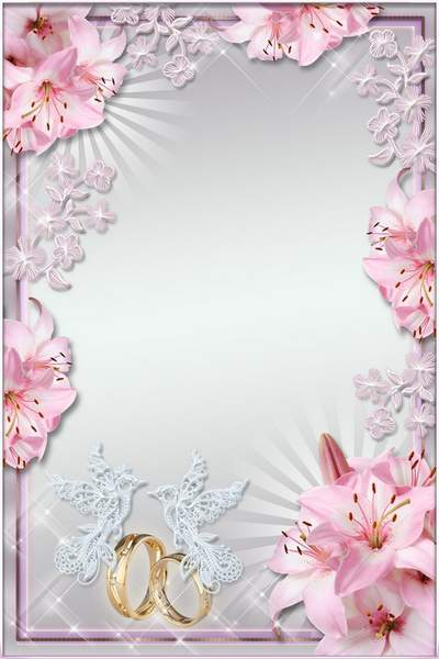 Wedding Photoframe - Pink lilies and delicate flowers
