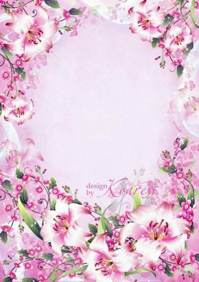 Romantic photo frame with tender pink flowers - Tenderness and dreaminess