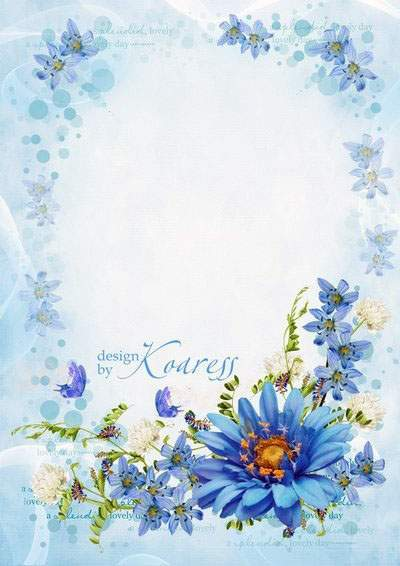 Romantic photo frame with blue flowers - Wonderful bright day