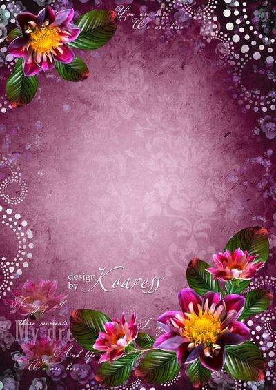 Romantic floral photo frame - Colorful flowers