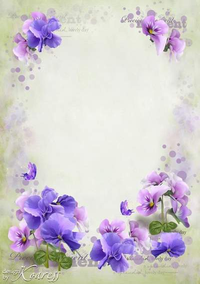 Romantic frame for Photoshop - These tender pansies