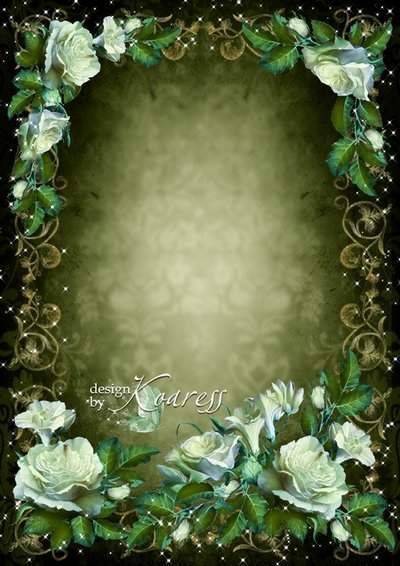 Romantic photo frame for women - Vintage white flowers