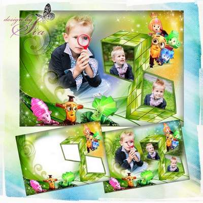 Children photo frame PSD + PNG for 3 photos with cartoon characters