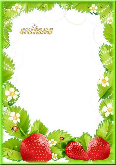 Photo frames with berries - raspberries and strawberries
