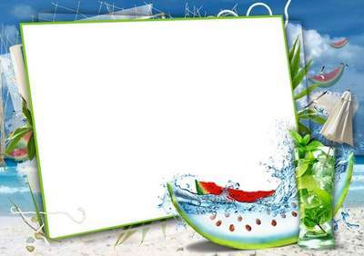 Summer frame for photo decoration with various backgrounds in PSD and PNG formats
