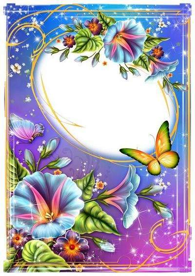 PSD frame with butterflies and flowers (two versions of beautiful photo frames)