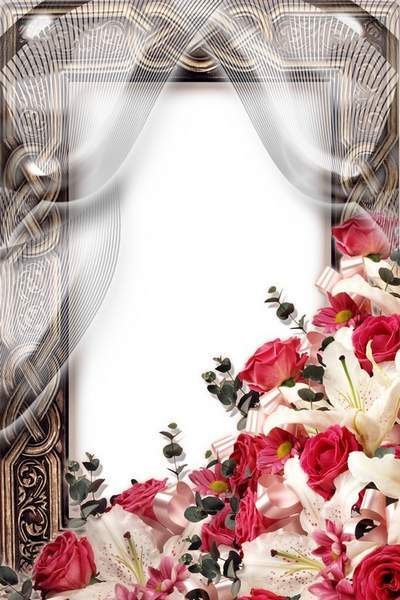 Photo Frame of Roses and Lilies (free frame psd + free frame png)
